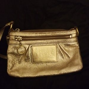 Coach Bags - COACH POPPY Gold leather large wristlet